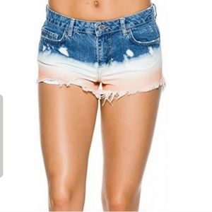 Free People Dip Dye Distressed Shorts